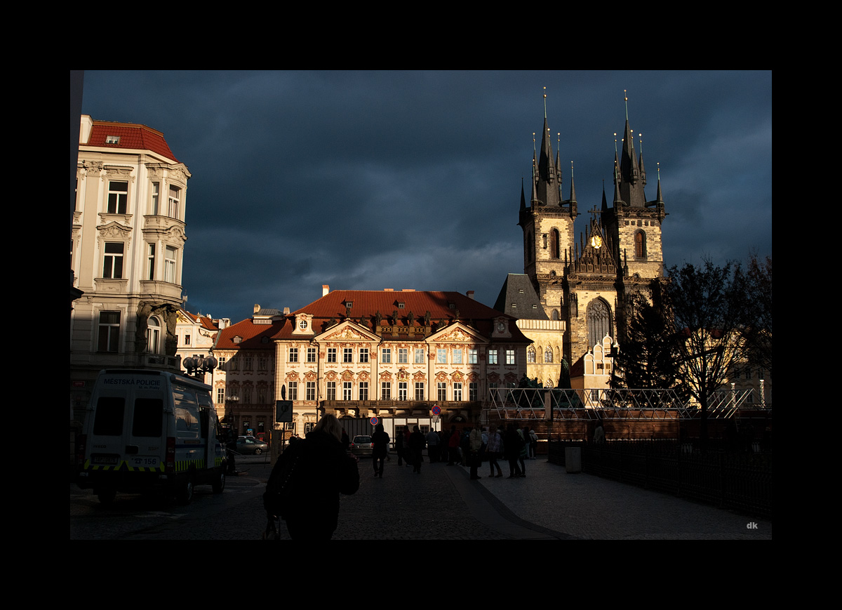 Prague: National Gallery and Church of Our Lady Before Tyn